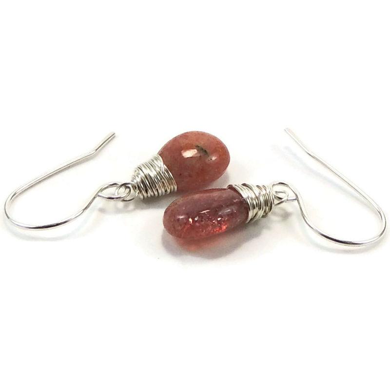 Sterling Silver Wire Wrapped Sunstone Earrings - Night Sky Jewelry