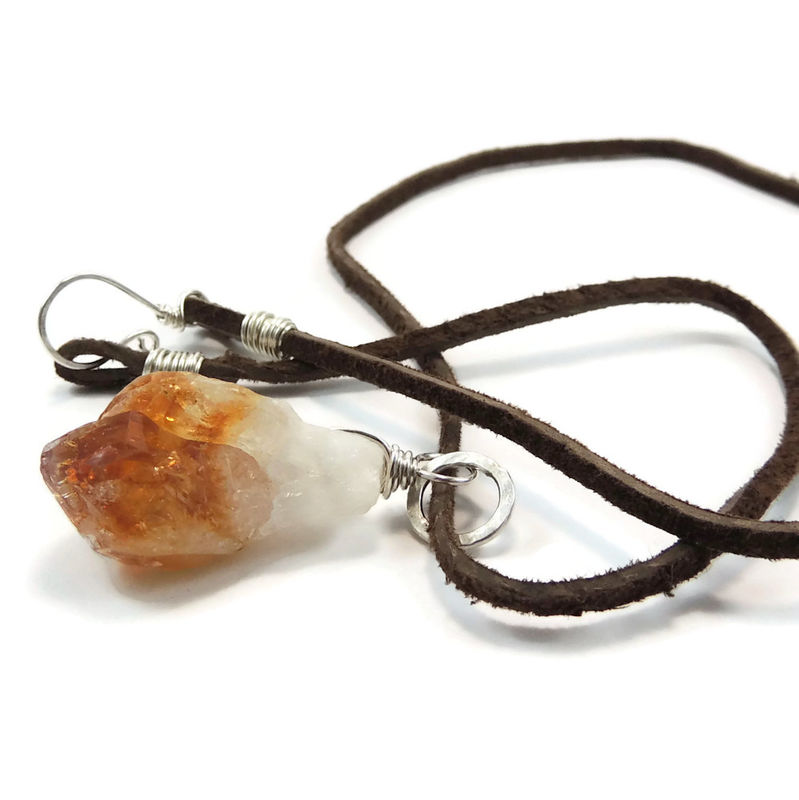 Citrine crystal point sterling silver pendant on leather cord citrine crystal point sterling silver pendant on leather cord night sky jewelry aloadofball Image collections