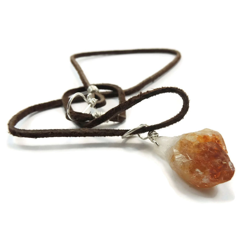 Citrine crystal point sterling silver pendant on leather cord citrine crystal point sterling silver pendant on leather cord night sky jewelry aloadofball Choice Image