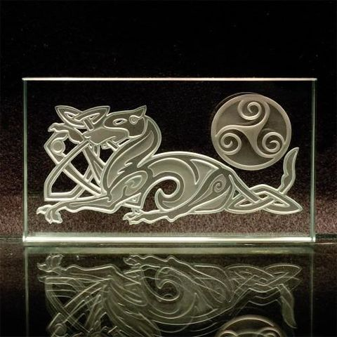 Celtic Dog Knotwork Etched Art Glass Paperweight