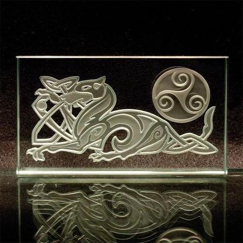 Rising Phoenix Mythological Fire Bird Etched Art Glass
