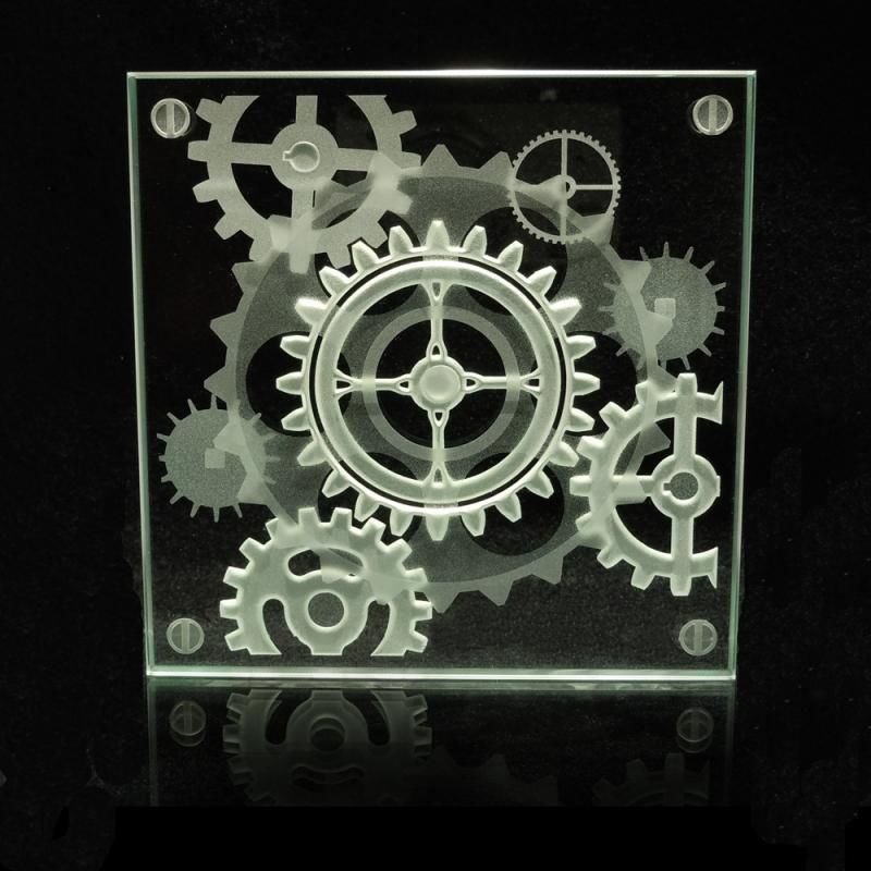 steampunk decorative glass coaster - etched gears in a 3d coffee