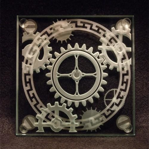 steampunk gears - etched art glass coasters - sandblasted coffee