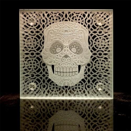 Sugar Skull, Day Of The Dead   Etched Art Glass   Table Top Beverage  Coaster   Imagined Glass