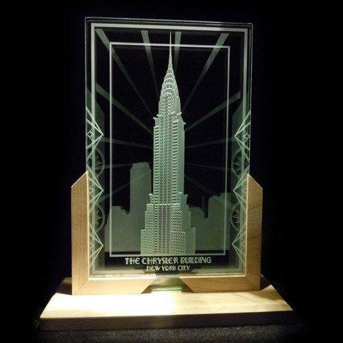 Chrysler building art deco decorative art glass display for Architectural glass art