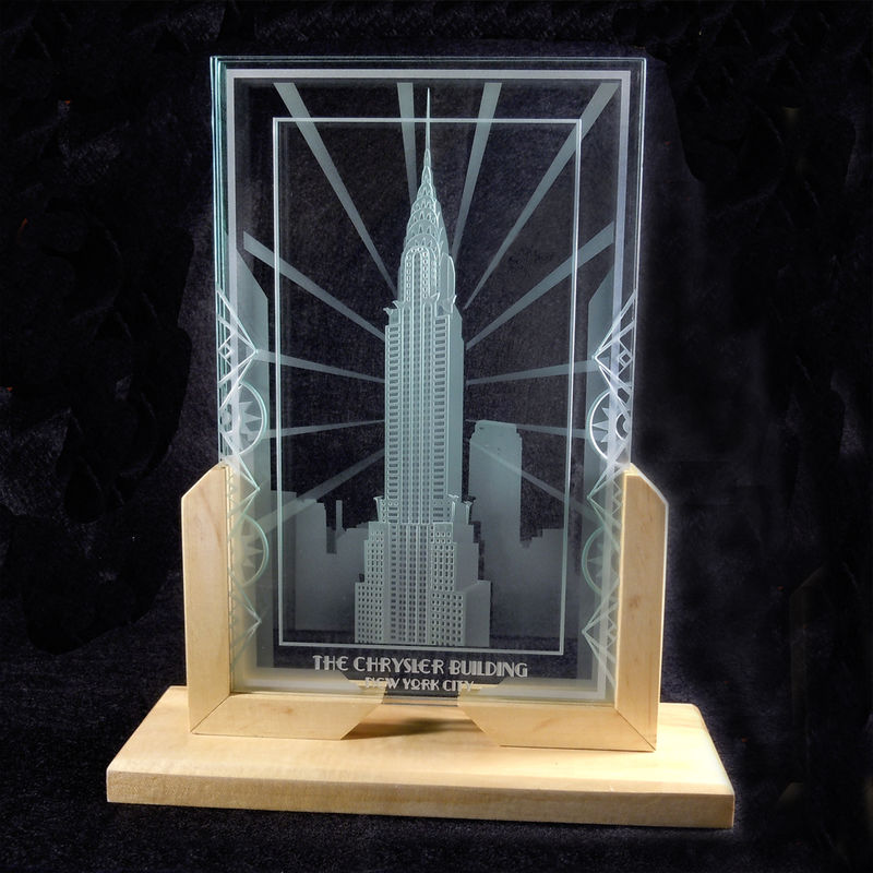 Chrysler Building Art Deco Decorative Art Glass Display Etching