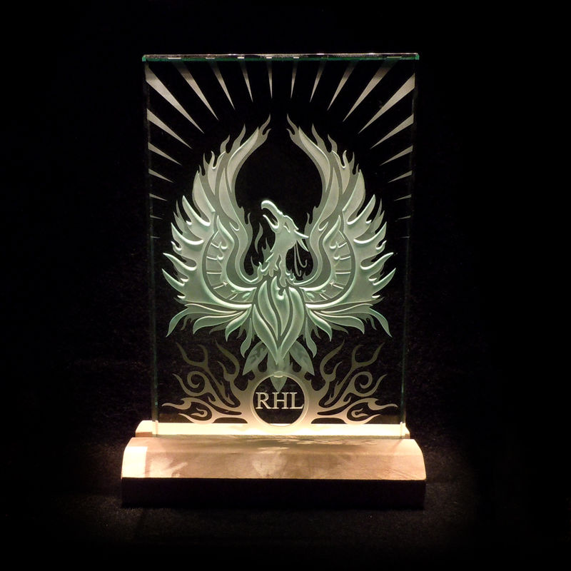 Rising Phoenix Mythological Fire Bird Etched Art Glass Paperweight Decorative Display With