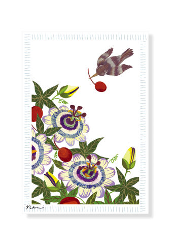 Greeting,Card,Flowers,,fruits,and,a,bird,greeting card, blank card, paper, original design, painting, passion flower, passion fruits, bird, acrylic, Japanese, illustration, art nouveau