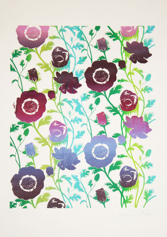 Screen,Print,Anemone,print, Japanese, paper, anemone, B3, limited edition, ink, hand print
