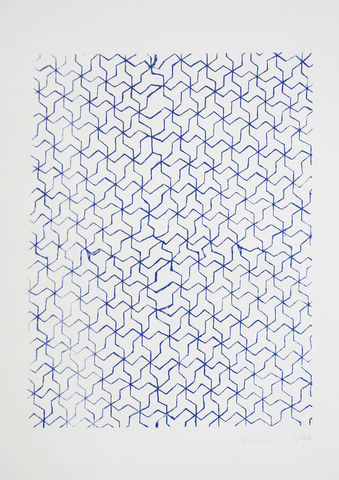 Screen,Print,Japanese,Pattern,print, Japanese, paper, pattern, B3, limited edition, ink, hand print, blue