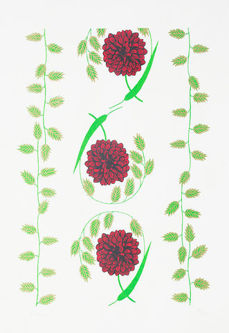 Screen,Print,Dahlia,print, Japanese, paper, dahlia, greenscale, B3, limited edition, ink, hand print