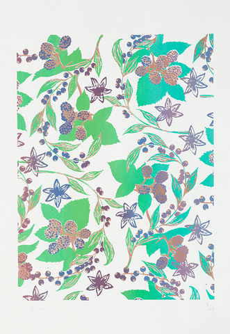 Screen,Print,Berries,print, Japanese, paper, berries, B3, limited edition, ink, hand print