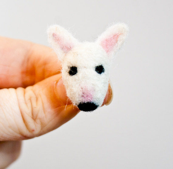 Bull terrier needle felted brooch  - product images  of