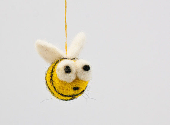 Needle felted bumblebee Christmas ornament  - product images  of