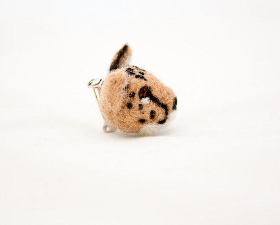 Needle felted cheetah brooch handmade jewelry  - product images  of