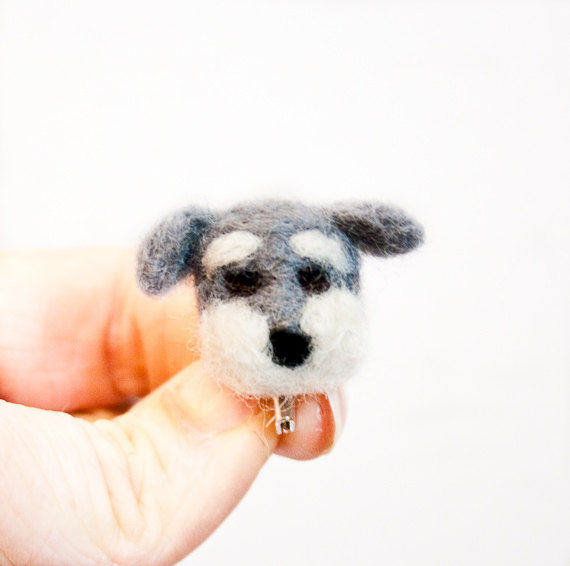 Needle felted Schnauzer brooch dog jewelry - product images  of