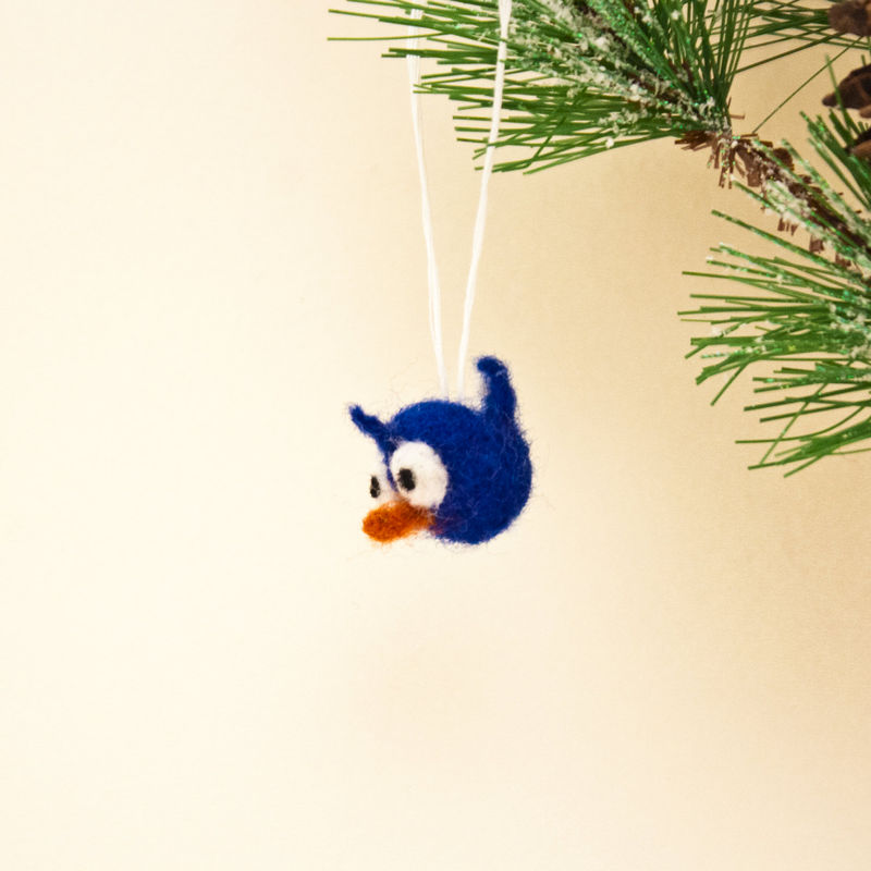 Bluebird handmade needle felted miniature ornament  - product images  of