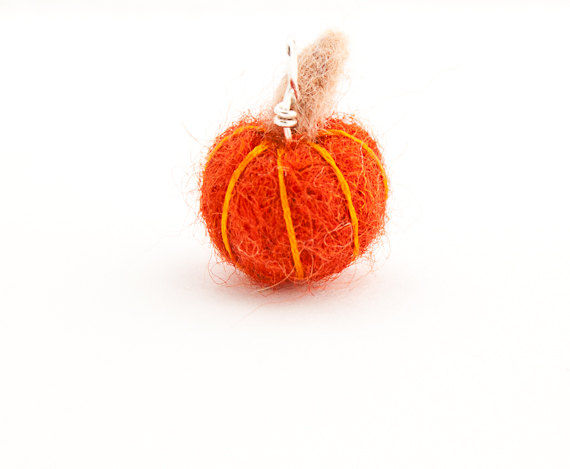 Pumpkin pendant, needle felted miniature jewelry - product images  of