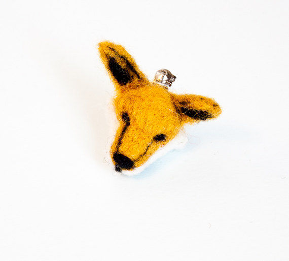 Fox needle felted brooch - product images  of