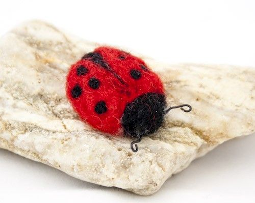 Ladybug needle felted brooch  - product images  of