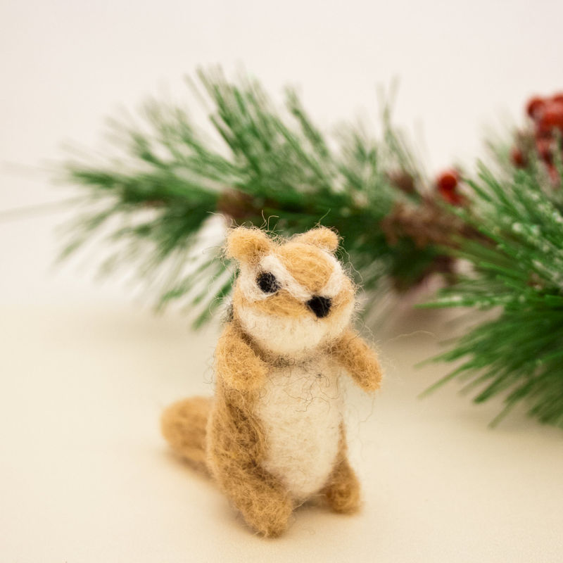 Chipmunk needle felted miniature ornament - product images  of