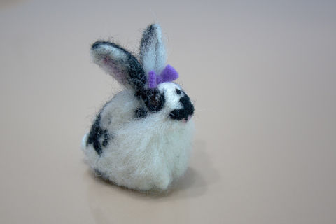 RESERVED-Custom,order,for,a,needle,felted,black,and,white,rabbit,Black and white rabbit, Needle felted bunny, Needle felted rabbit, Needle felted black and white rabbit, Custom rabbit portrait, Custom pet portrait, Handmade ornament, Custom bunny, Miniature rabbit, Miniature bunny