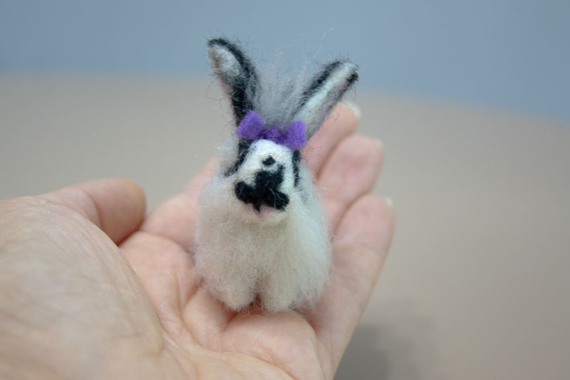 RESERVED-Custom order for a needle felted black and white rabbit  - product images  of