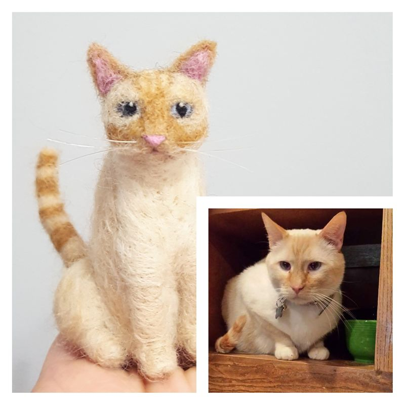 Custom needle felted cat ornament  - product images  of