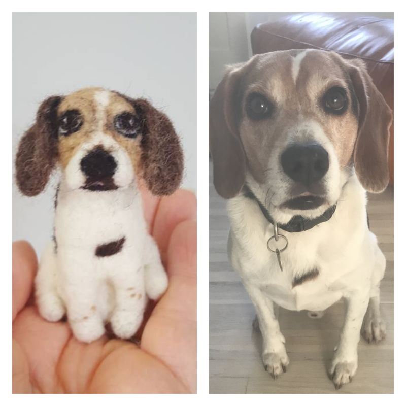 Custom needle felted dog ornament  - product images  of