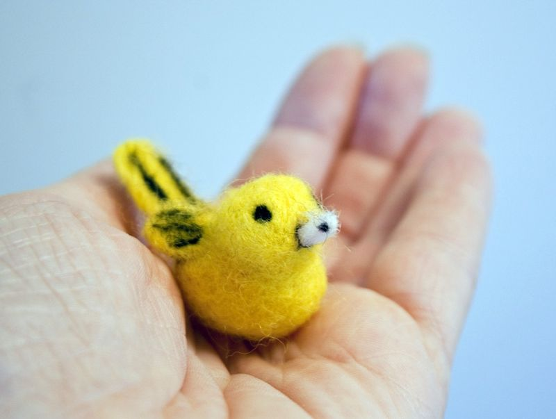 Yellow warbler bird miniature ornament decoration, handmade needle felted - product images  of
