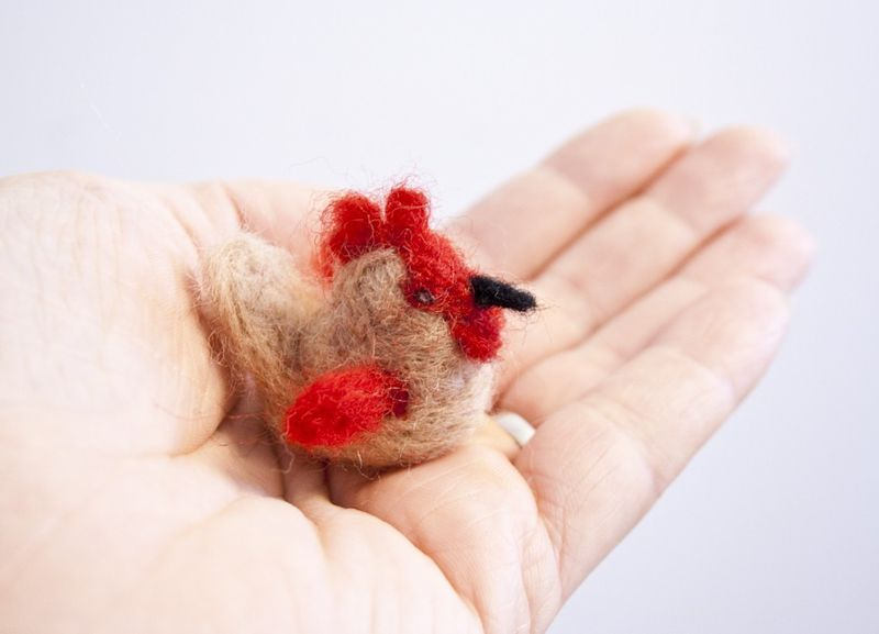 Rooster felted miniature - product images  of