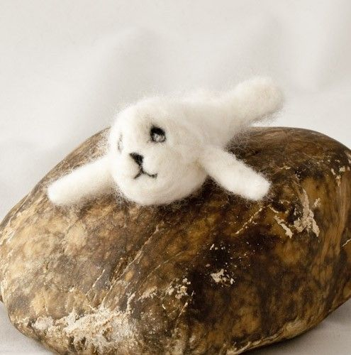 Baby white seal needle felted waldorf style - product images  of