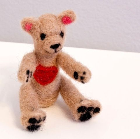 Teddy,bear,felted,miniature,with,heart,Dolls_and_Miniatures,Miniature,Needle_Felted,teddy_bear,brown_bear,tiny,cute,soft_sculpture,waldorf,pocket_friend,valentines,canada_ontario,craftsbykeri,wool_roving