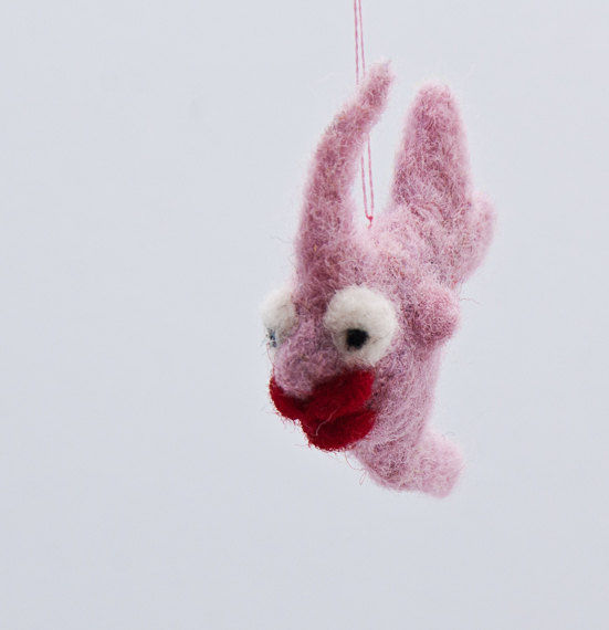 Angelfish needle felted miniature in pink with kissing lips - product images  of