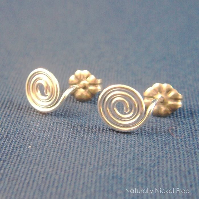 Spiral Post Earrings in Argentium Sterling Silver - product images  of