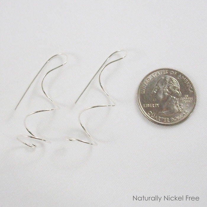 Argentium Sterling Silver Ear Curls Spiral Twist Earrings, Choose Your Size - product images  of