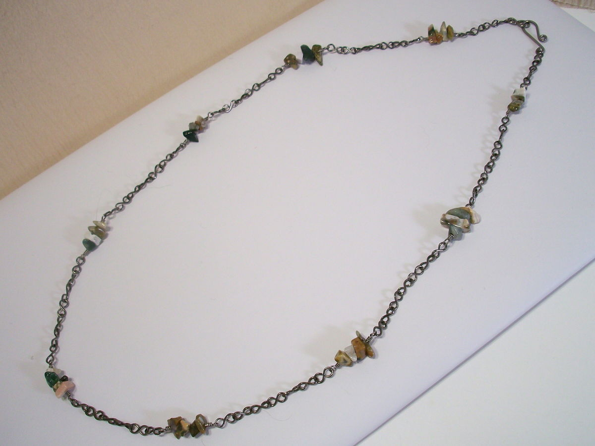 Ocean Jasper Necklace with Handmade Niobium Chain - product images  of