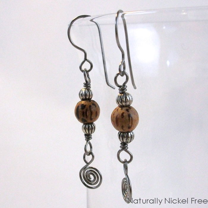Natural Wood Bead Niobium Wire Spiral Dangle Earrings - product images  of