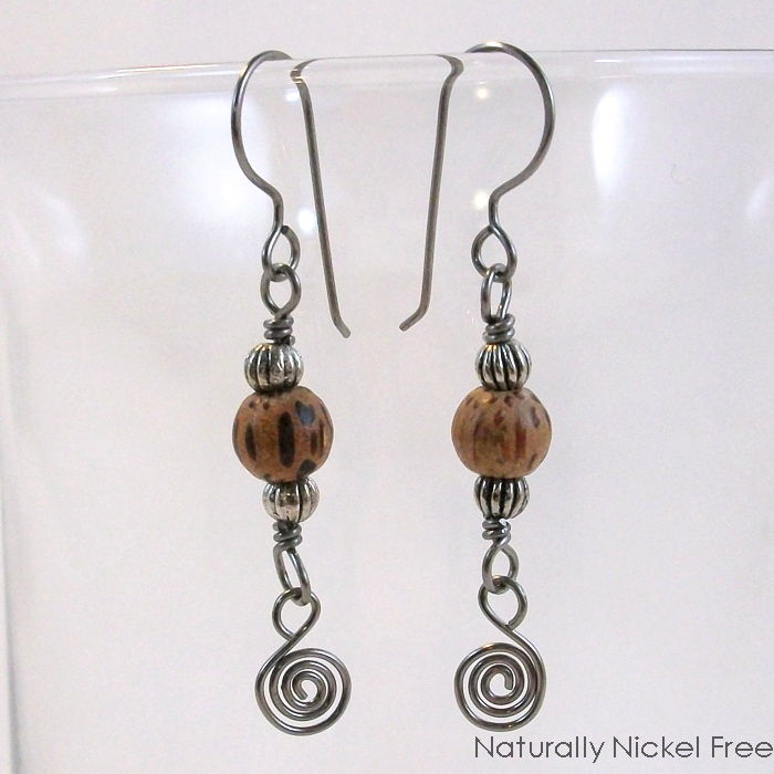 Natural Wood Bead Niobium Wire Spiral Dangle Earrings - product image