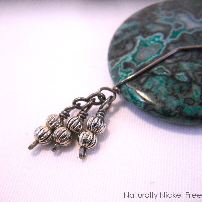 Green Lace Agate Necklace with Niobium Chain - product images  of