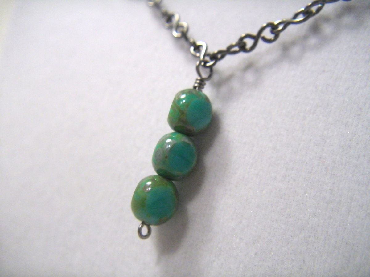 Turquoise Blue Czech Glass Bead Necklace - product images  of