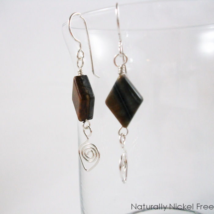 Picasso Jasper Bead Dangles with Argentium Sterling Silver Teardrops - product images  of