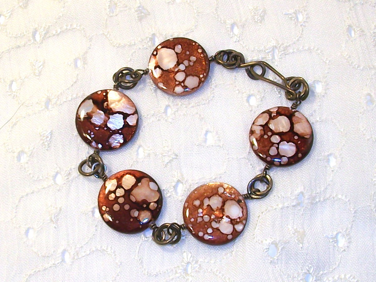 Spotted Brown Shell Bracelet with Niobium Chain - product images  of