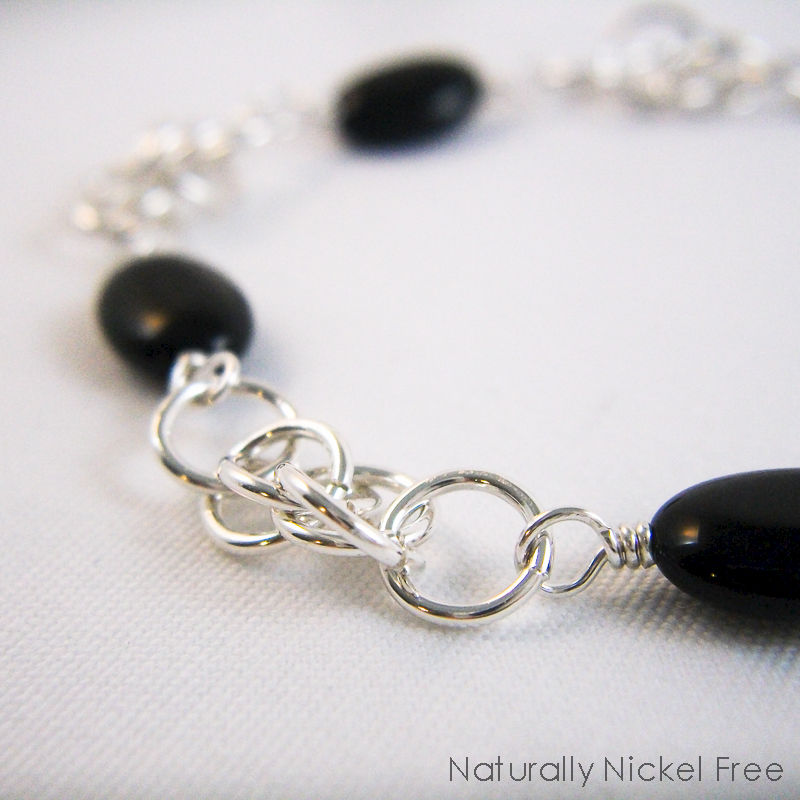 Onyx Bead Chainmaille Bracelet in Argentium Sterling Silver - product images  of