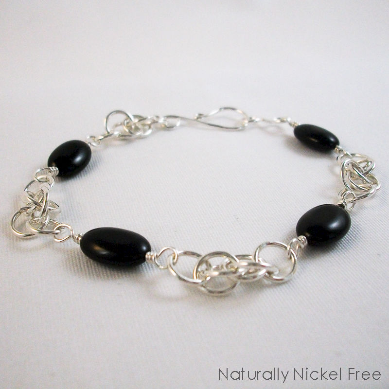 Onyx Bead Chainmaille Bracelet in Argentium Sterling Silver - product image