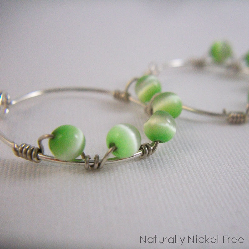 Argentium Sterling Silver with Spring Green Cats Eye Beads Wire Wrapped - product images  of