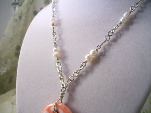 Silver and Pearl Necklace with Large Peach Ceramic Pendant - product images  of