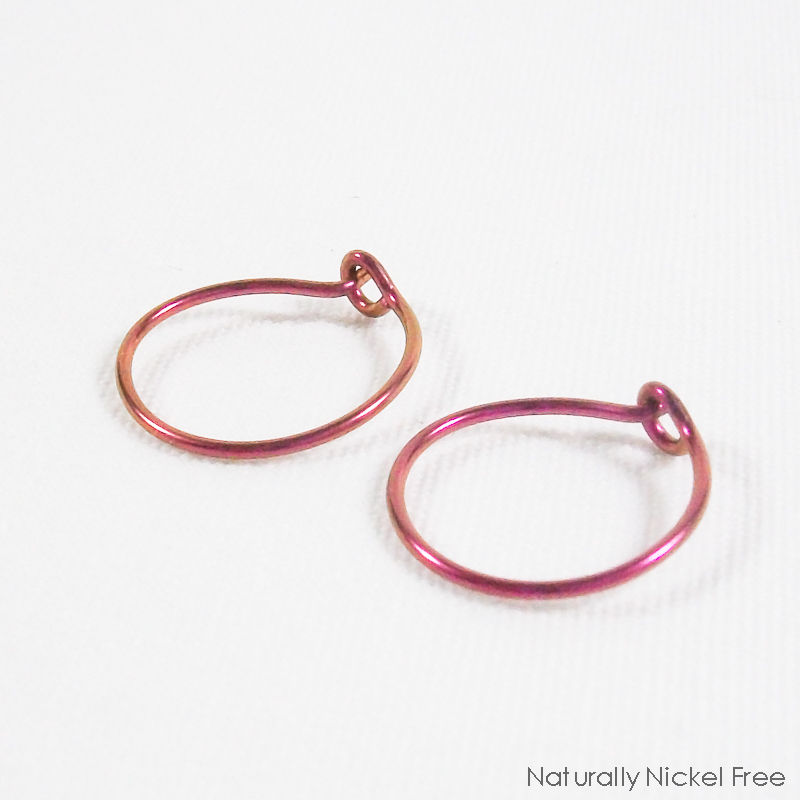 Simple Niobium Hoop Earrings - Choose Your Size and Color - product images  of