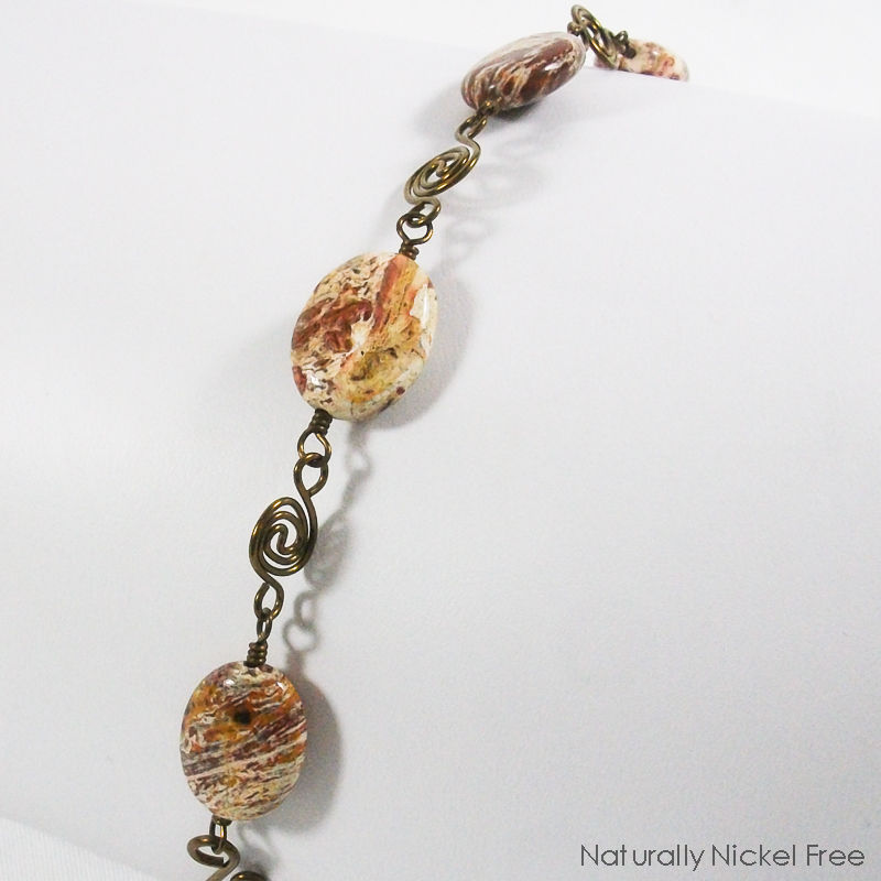 Chocolate Jasper Bracelet with Niobium Spiral Chain - product images  of