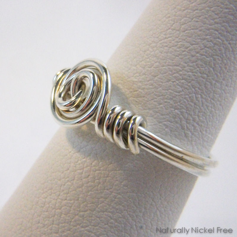 Argentium Sterling Silver Spiral Rosette Wire Wrapped Ring, Made to Order - product images  of